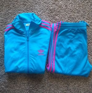 Adidas Blue-Pink Tracksuit top and bottom|Small
